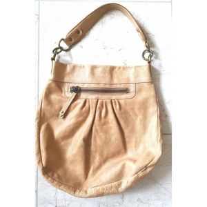Roots shoulder bag light tan distressed